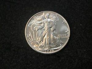 1943 P Walking Liberty 50c Half Dollar Blast White Uncirculated Silver Coin ~506