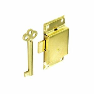 63mm Traditional Brassed Wardrobe Cupboard Lock with 2 Keys Drawer Cabinet Catch