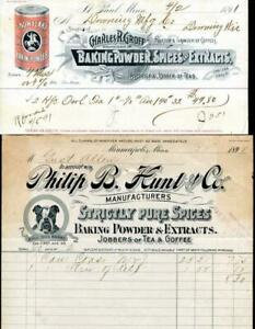 Rare Antq 1890s Lot of 2 Baking Powder/Spice Letterheads Snowflake and Bull Dog