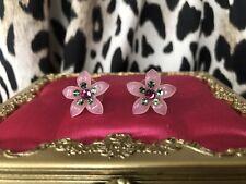 Tarina Tarantino Light Pink Swarovski Mint Green Crystal Flower Stud Earrings