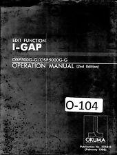 Okuma CNC Edit Function I-Gap OSP500G-G OSP5000G-G 2nd Edition Control Manual