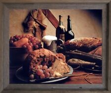Wine & Fruit Pheasant Still Life Kitchen Wall Art Decor Barnwood Framed Picture
