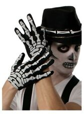 Skeleton Bones Short Gloves Halloween Women Men Black White Hand Accessories New
