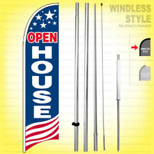 Open House Windless Swooper Flag Kit 15 Feather Banner Sign Usa Bb H
