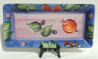 """Vintage 17"""" Italy Hand Painted Fruit & Vegetable Serving Party Platter #4428"""