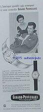 PUBLICITE MONTRE GIRARD PERREGAUX GYROMATIC HORLOGERIE SUISSE DE 1957 FRENCH AD