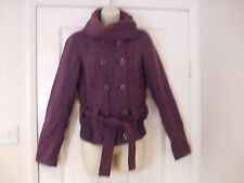 Fit size 10 wool jacket womens roll neck button up + belt Winter Ladies Work