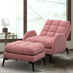 Recliner Velvet Armchair Extra Soft Sleeper Sofa Lounge Chair with Footstool Set