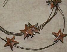 "Primitive Rusty Tin 1-1/4"" Star Garland - 6 feet - stars have dimensional top"