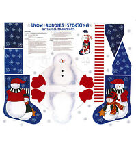 Snow Buddies Stocking Panel-Fabric Traditions-Snowmen - Christmas - Red Mittens
