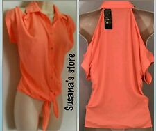 NWT BEBE Ashley Studded Collared Top SIZE L Cold shoulder & front tie, sexy!$62