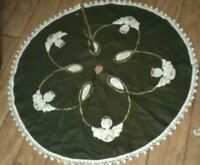 Vtg Christmas Tree Skirt Angel Pom Pom Edge Green Felt  Read Description