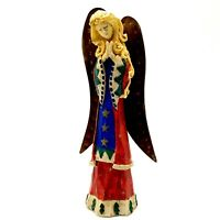 Christmas Praying Angel Figurine Rustic Faux Carved Wood 5 3/4 Inch Tall
