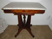 Antique Eastlake Victorian Carved Walnut Parlor Table White Beveled Marble Top