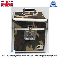 """NEO Aluminum GREEN Camouflage Storage DJ Carry Case for 100 Vinyl LP 12"""" Records"""