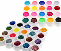12 Mix Color Solid Pure Glitter Gel Acrylic Set UV Builder Nail Art Decor Kit #s