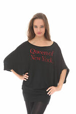 """e.vil Batwing Dress with Crystals """"Queen of New York"""" Black Size S"""