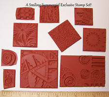 10 Texture Rubber Stamps Grab Bag to Impress Designs in Polymer PMC Paper Clay