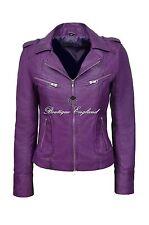 Purple Ladies Biker Style Slim Fit Soft Lamb Skin 100% REAL Leather Jacket 9823