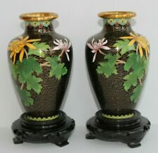 Vintage Mirrored Pair Black Floral Cloisonné Vases & Stands from Jingfa, China