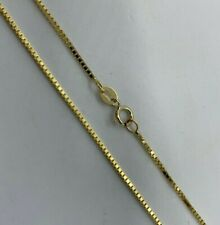 """14K Solid Yellow Gold Box Chain Necklace Women's 1.25mm Length 16"""" to 24"""""""
