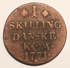 1771 Denmark Skilling, Copper Coin. Christian VII