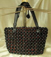 The Sak Black Purse Bag Wooden Beads & Leather 1960s Hippie Boho Revival Fab