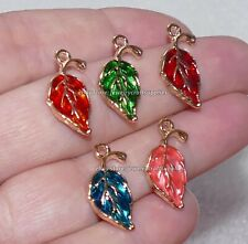 3x Enamel Leaf Metal Charm for Bracelet, Leaves Pendant Necklace Making Supplies