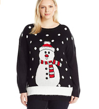 Notations Women's Plus Size Ugly Christmas Sweater with 3D Snow Snowman 1X Top