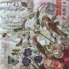 2 Paper Napkins Decoupage Fleur de Triomphe Birds Floral Luncheon Craft Punch
