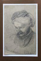 August Schiott 1823-1895 Dibujo Retrato Mujer Retrato de a Mujer Diadema