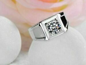 Round Diamond Mens Pinky Ring Solitaire Wedding Band 14K White Gold Over