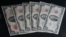 Lot of 6 $2 United States Red Seal Notes Two Dollars - with Star Notes