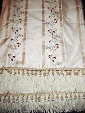Silk Throw ~ Velvet Embroidered Silk Taffeta ~ Ivory ~ Embellished Trim