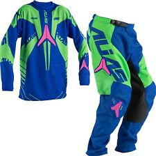 Alias A2 Series Blue / Neon Green Youth Motocross Mx Kit 26W Pant X Large Jersey