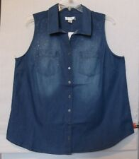 CJ Banks Size 3X Blue stonewash button up sleeveless blouse, bling NWT