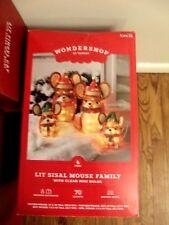 Wondershop Holiday Yard Decor Set of 4 Sisal Lit Mouse Family