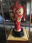 CHINESE RED GLAZE GOLD DRAGONS VASE w/ GLASS ENCLOSURE  #2