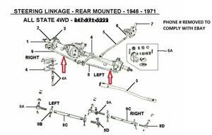 JEEP TIE ROD KIT, ALL RODS & TUBES, 1949-1971 CJ3A, CJ3B, CJ5 WITH 4 CYL 134 NEW