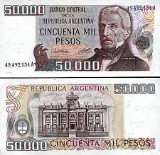 ARGENTINA 50000 50,000 PESOS 1979 1983 UNC 2 PCS PAIR P 307 JOSE de SAN MARTIN