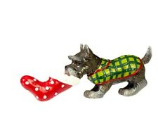 "Raz Imports Schnauzer Dog Ornament 4"" with Christmas stocking 3910293"