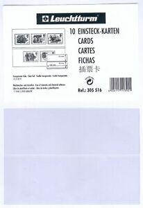 10 Einsteck-Karten mit je 2 Streifen für Briefmarken aus Transparenter Folie