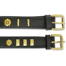 Ancol Heritage Bull Terrier Leather Dog Collar English Rose Black 25mm X45-54cm