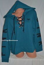 Victoria's Secret PINK Slouchy Lace Up Pullover Hoodie Blue Black Sweatshirt S