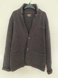 Mens William Hunt Saville Row Cardigan Brown Sweater - Medium - Made In England