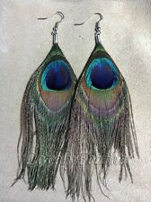 6 pieces natural Peacock eye feathers earrings
