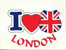 I Love London & Union Jack Flag Oval External Car Bumper Sticker Decal