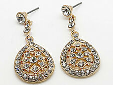 63b Lg Bridal Gp Classic Clear Swarovski Crystal Elements Teardrop Earrings