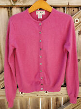 Women's L.L. Bean Cashmere Pink Long Sleeve Cardigan Sweater Button Down Small