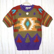 Vintage Colter Bay Brick Purple Khaki Aztec Pullover Sweater Womens Medium Vtg